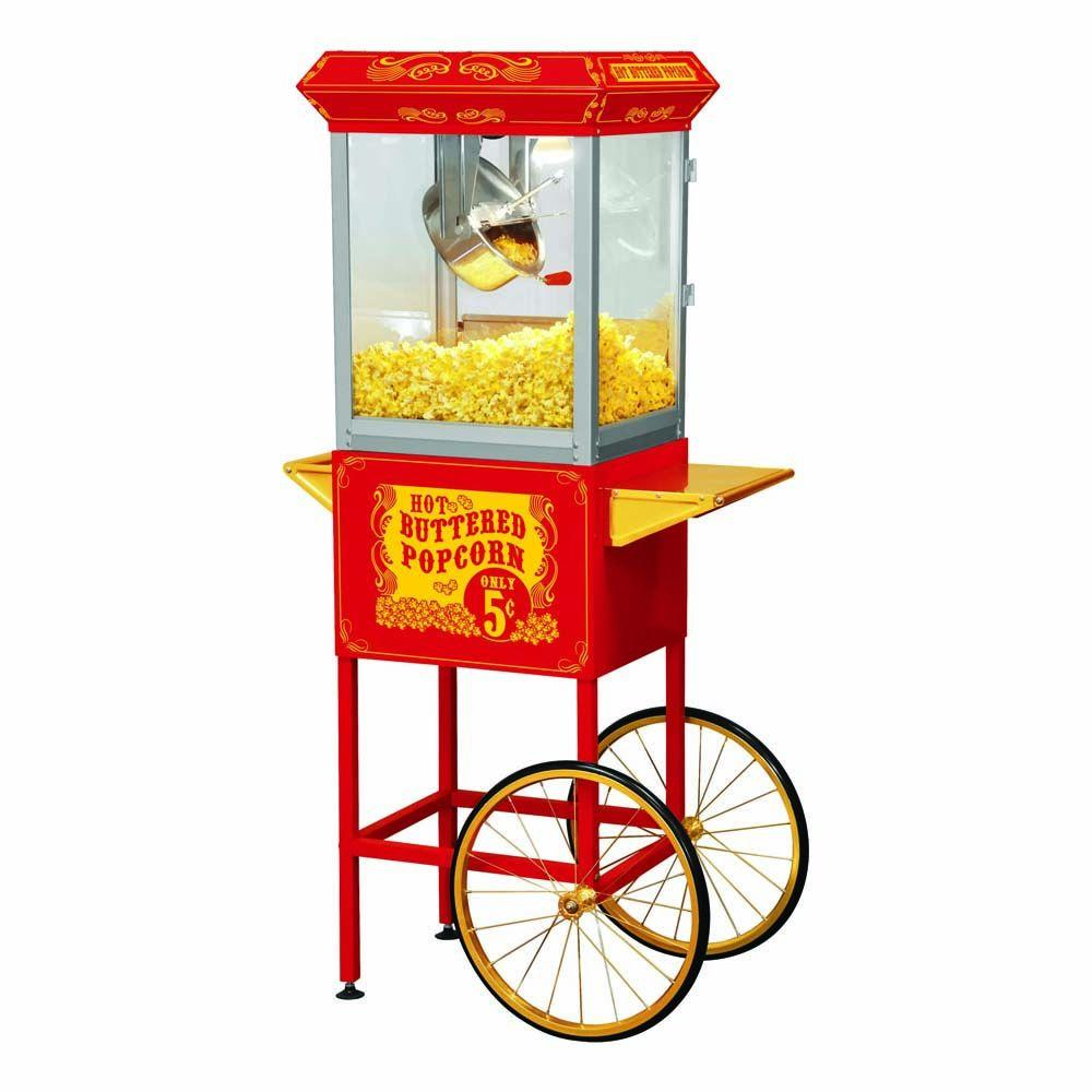 Funtime Carnival Style 8 oz. Popcorn Machine & Cart, Red/Gold These beautiful classic style popcorn machines bring back the fun feel of yesteryear, back to a time when you could buy a bag of hot buttery popcorn for a nickel. The design has a vintage look of vending carts from movie houses and carnivals from the early 1900s. Each cart features a red powder coat finish, gold trays and 18 in. gold anodized wheels. Below is a cabinet with room to store popcorn accessories. Color: Red / Gold.