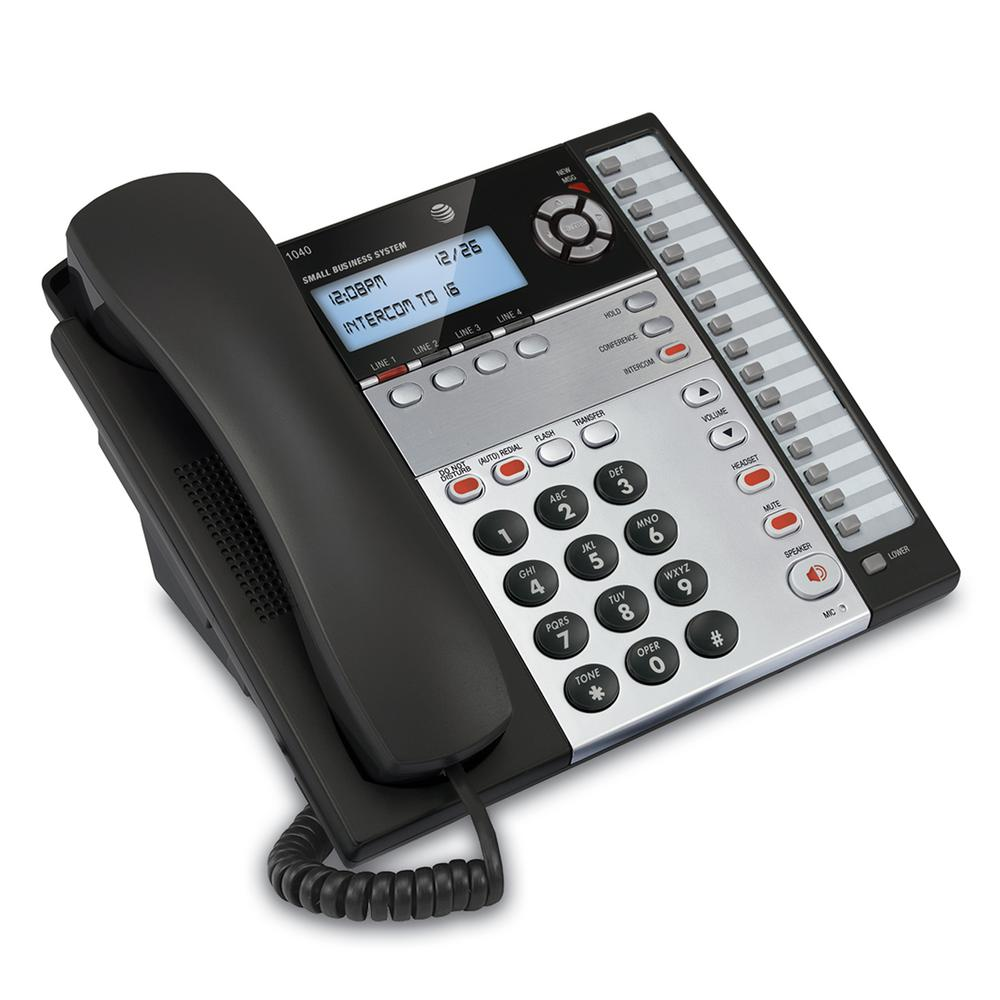 4-Line Expandable Telephone 4-line Corded Business System Phone is expandable up to 16 extensions. Features page, intercom and call transfer between stations, 32 speed dial and 16 intercom number locations, 3-party conferencing, speakerphone in base and handset, chain dialing, rapid scroll, four-line blue backlit display, memory loss protection, auto line selection, hold, line status, Do Not Disturb feature, auto redial, last 6 number redial, mute, 2 data ports, power failure operation on all 4-lines, flash and selectable ring tones. Setup Menu can be displayed in English, Spanish and French. DSL compatible. Hearing aid compatible. 2.5 mm headset compatible. Expandable to 16 Stations with AT and T Models 1040, 1070 and 1080.