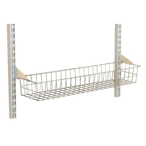 Storability 15 in. W x 4 in. H x 6-1/2 in. D Gray Epoxy Coated Steel Wire Basket with Lock-On Hanging Brackets