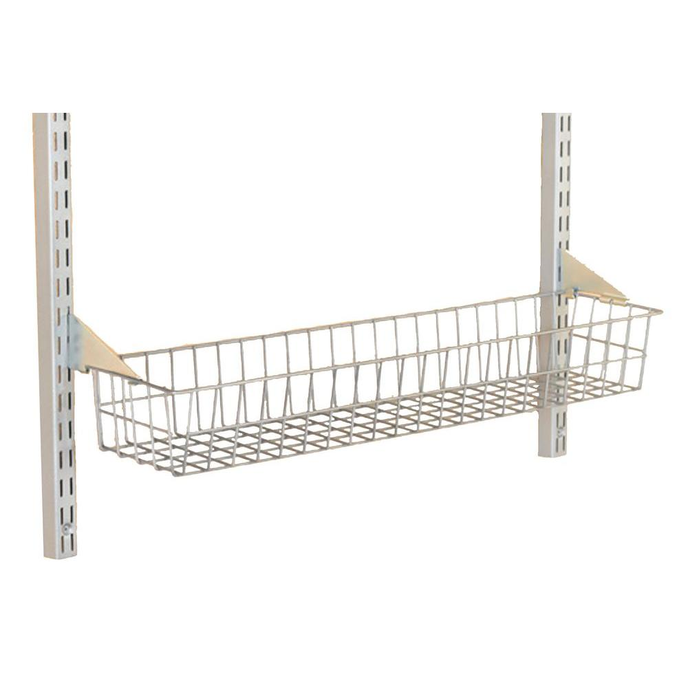 Triton Products Storability 15 in. W x 4 in. H x 6-1/2 in. D Gray Epoxy Coated Steel Wire Basket with Lock-On Hanging Brackets