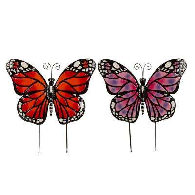 S/2 25 in. H Metal Butterfly Yard Stake