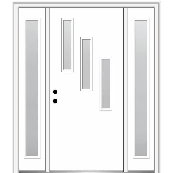 Mmi Door 68 5 In X 81 75 In Davina Right Hand Inswing 3 Lite Frosted Painted Fiberglass Smooth Prehung Front Door W Sidelites Z0350839r The Home Depot