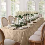 60 in. W x 84 in. L OvaL Beige Elrene Barcelona Damask Fabric Tablecloth