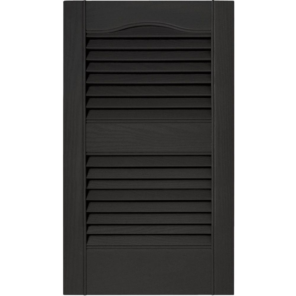 Builders Edge 15 in. x 25 in. Louvered Vinyl Exterior Shutters Pair ...