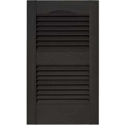 15 in. x 25 in. Louvered Vinyl Exterior Shutters Pair in #002 Black