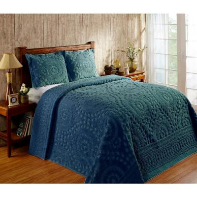 Rio Collection in Floral Design Teal Queen 100% Cotton Tufted Chenille Bedspread