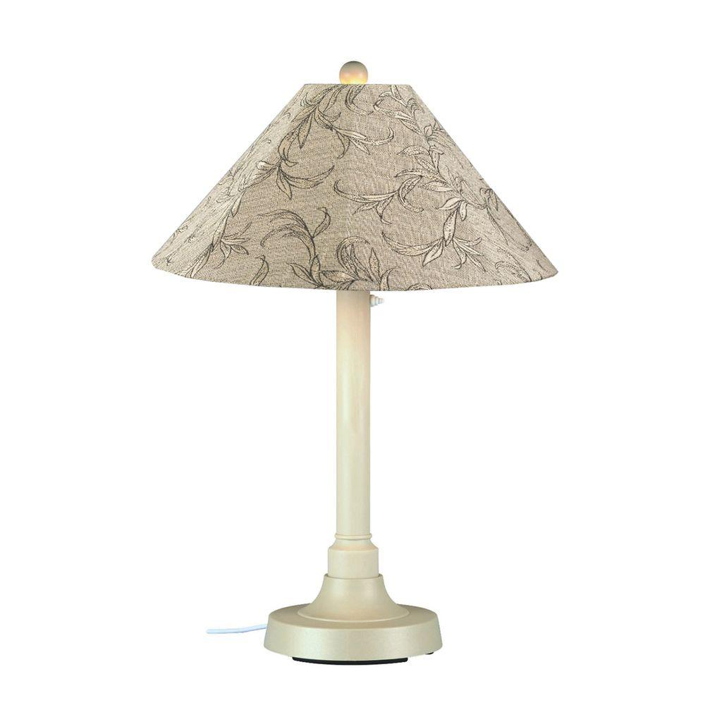Patio Living Concepts San Juan 34 in. Outdoor White Table Lamp with Bessemer Shade