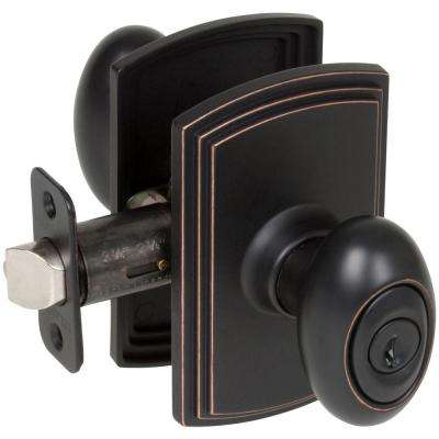 Italian Collection Canova Edged Oil-Rubbed Bronze Keyed Entry Door Knob