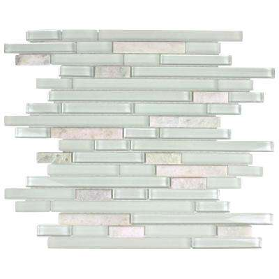 Tessera Piano Ming 11-3/4 in. x 11-7/8 in. x 8 mm Glass and Stone Mosaic Tile