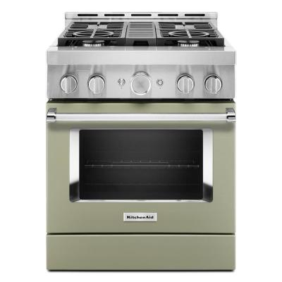 30 in. 4.1 cu. ft. Smart Commercial-Style Gas Range with Self-Cleaning and True Convection in Avocado Cream
