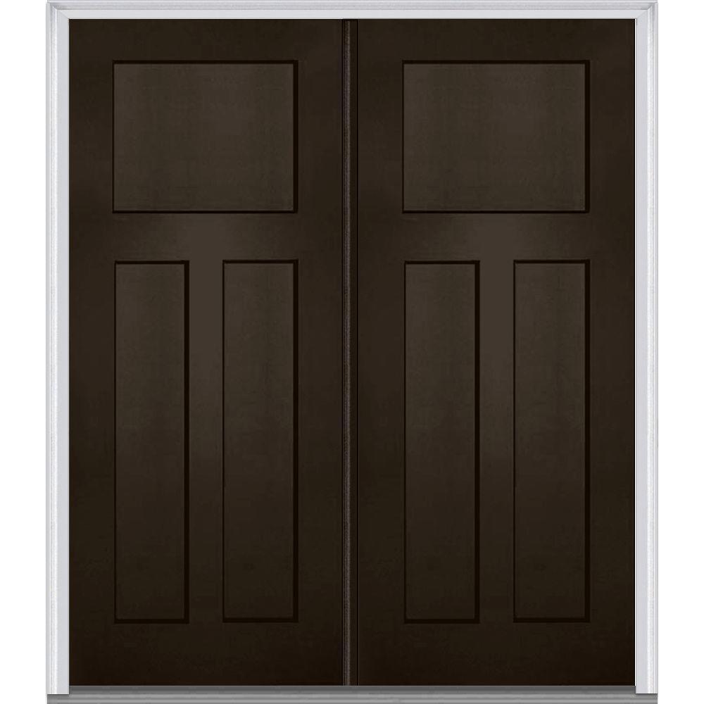 MMI Door 64 in. x 80 in. Classic Right-Hand Inswing Craftsman 3-Panel Painted Fiberglass Smooth Prehung Front Door with Brickmold