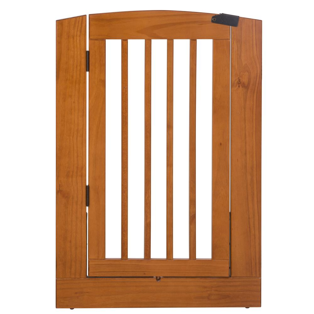 Ruffluv 36 in. H Wood Freestanding Single Panel Chestnut Pet Gate