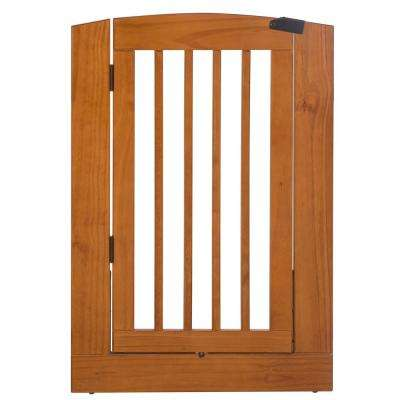 Ruffluv 36 in. H Wood Freestanding Single Panel Chestnut Pet Gate with Door