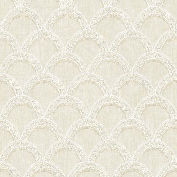 Chesapeake 8 in. x 10 in. Bixby Beige Geometric Wallpaper Sample