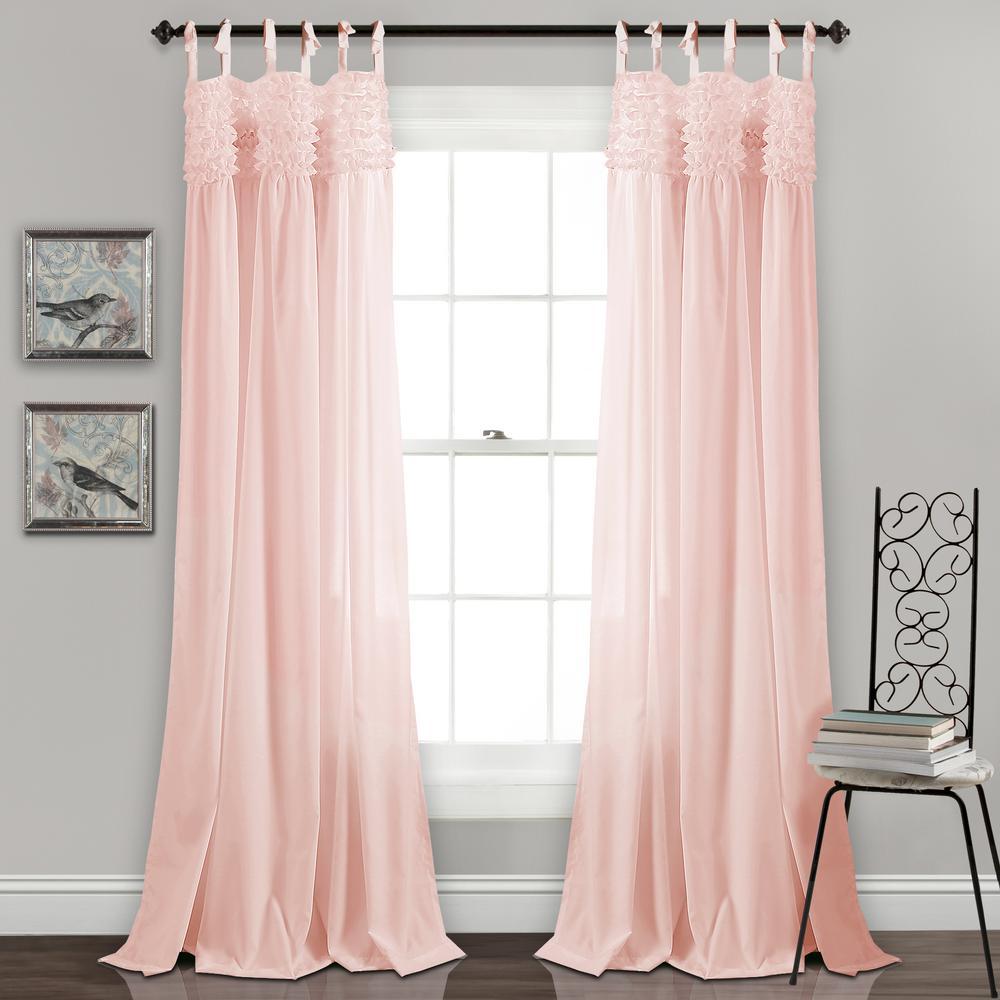 """Lydia Ruffle Window Panels Blush 84"""" x 40"""" 2-Pc Set 100% Polyester"""