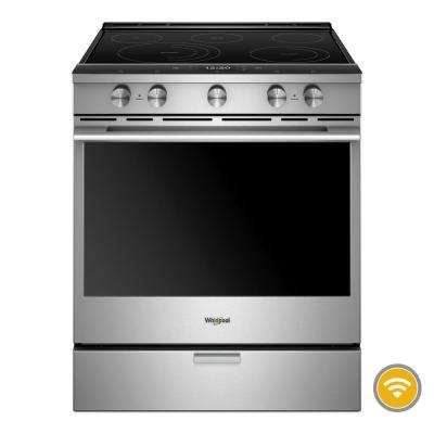 6.4 cu. ft. Smart Contemporary Handle Slide-in Electric Range with Frozen Bake Technology in Stainless Steel