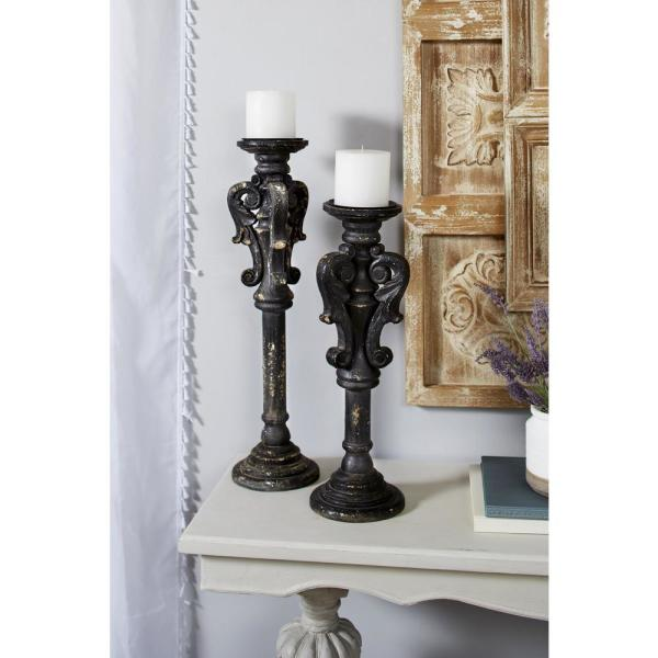 Litton Lane Distressed Black Carved Wood Candle Holders (Set of 2)