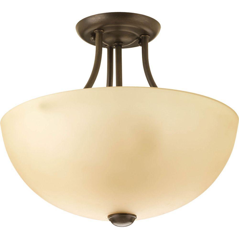 Progress Lighting Random Collection 2-Light Antique Bronze Semi-Flushmount