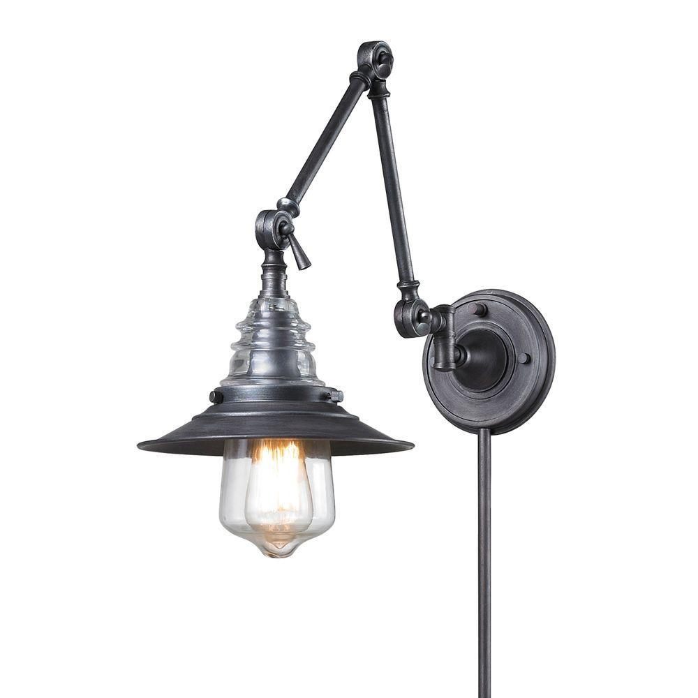 Titan Lighting Insulator Glass 1-Light Weathered Zinc Wall-Mount Swing Arm Sconce