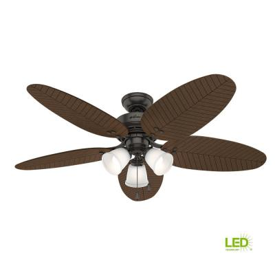 Led Indoor Outdoor Le Bronze Ceiling Fan With
