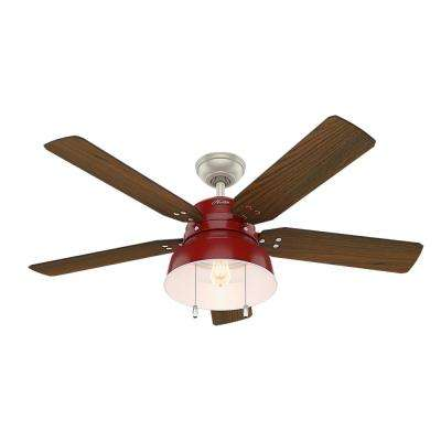 Mill Valley 52 in. LED Indoor/Outdoor Barn Red Ceiling Fan with Light