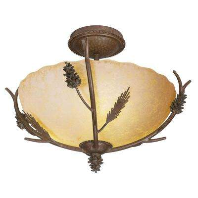 Lodge 17 in. 3-Light Weathered Spruce Semi-Flush Mount with Sunset Glass Shade