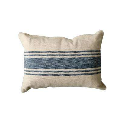 20 in. Stripe Pillow Blue