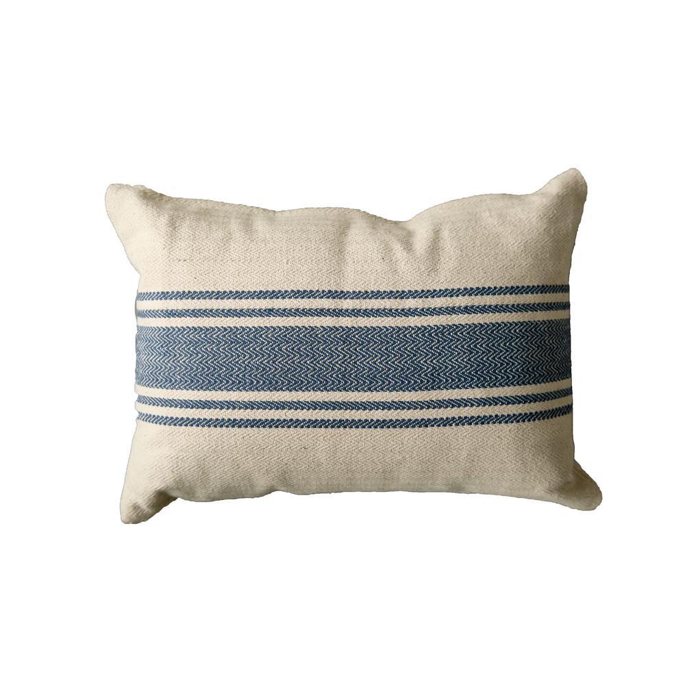 20 in. Stripe Pillow Blue