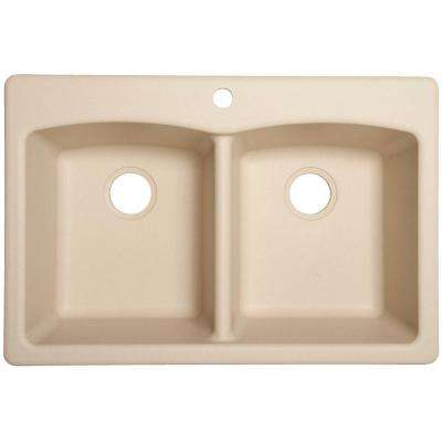 Dual Mount Composite Granite 33 in. 1-Hole Double Bowl Kitchen Sink in Champagne
