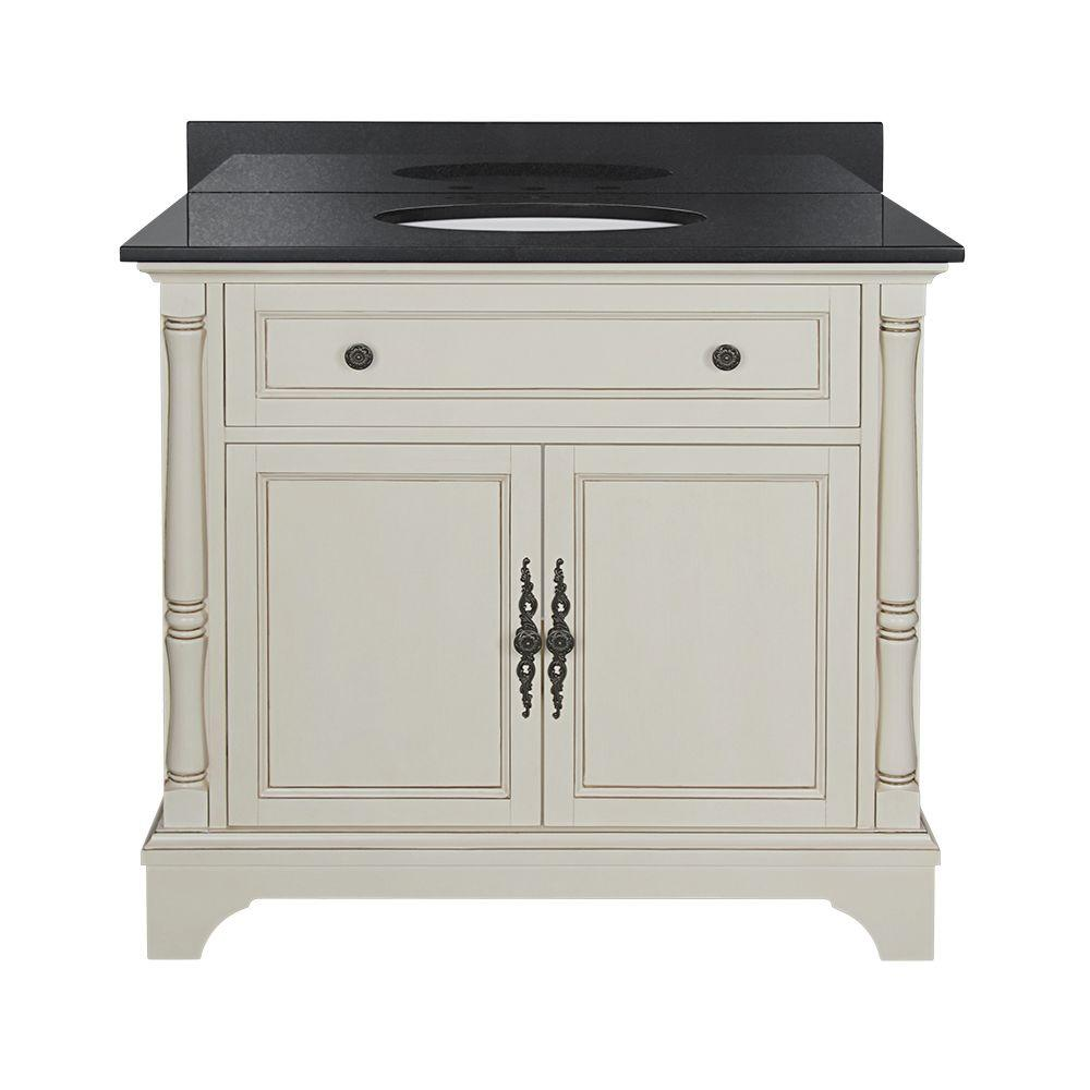 Home Decorators Collection Albertine 37 in. W Vanity in Creamy White with Granite Vanity Top in Black