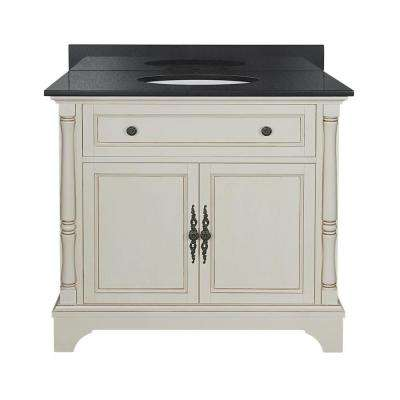 Albertine 37 in. W Vanity in Creamy White with Granite Vanity Top in Black