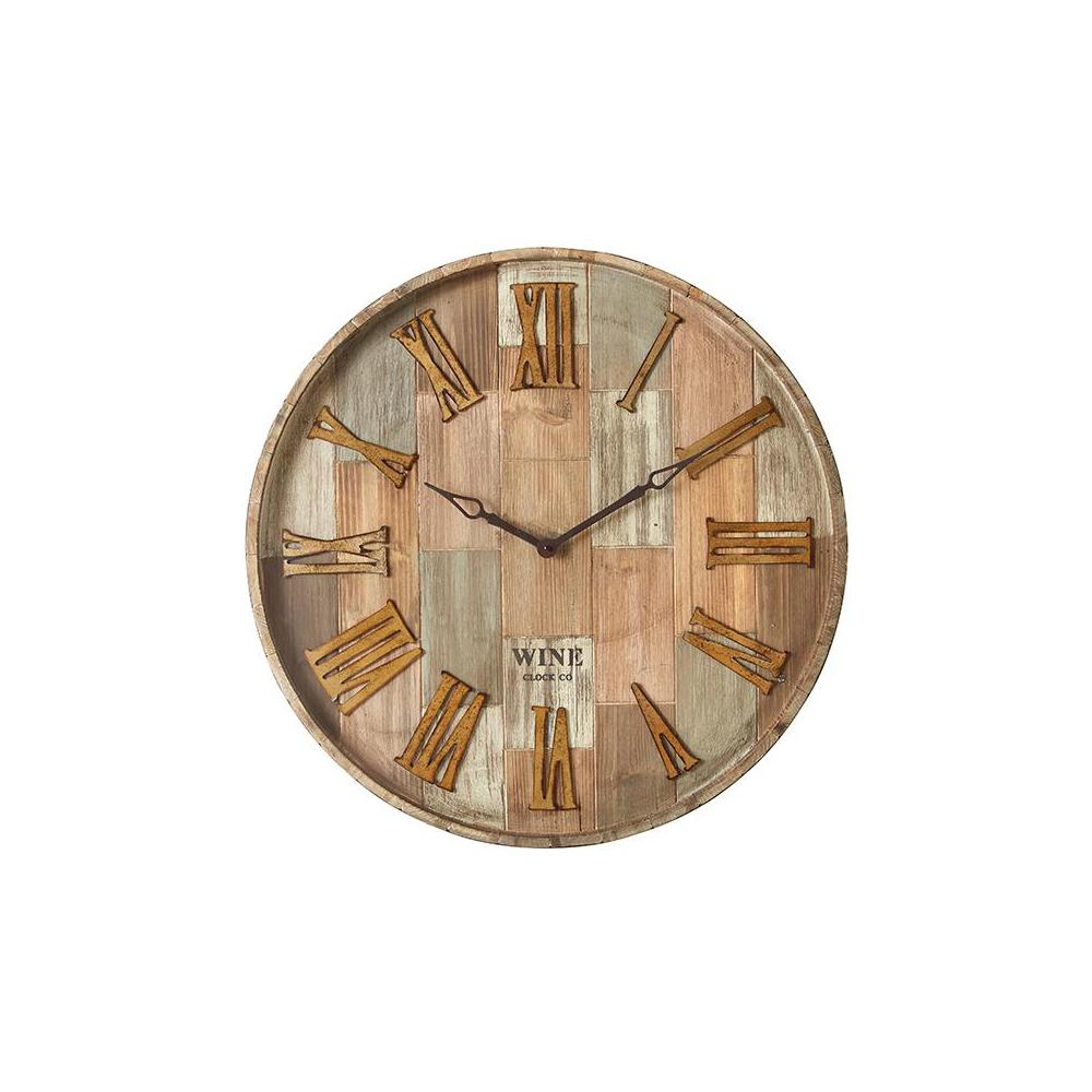 IMAX 28 in. x 28 in. Round Wine Barrel Wall Clock, Natural