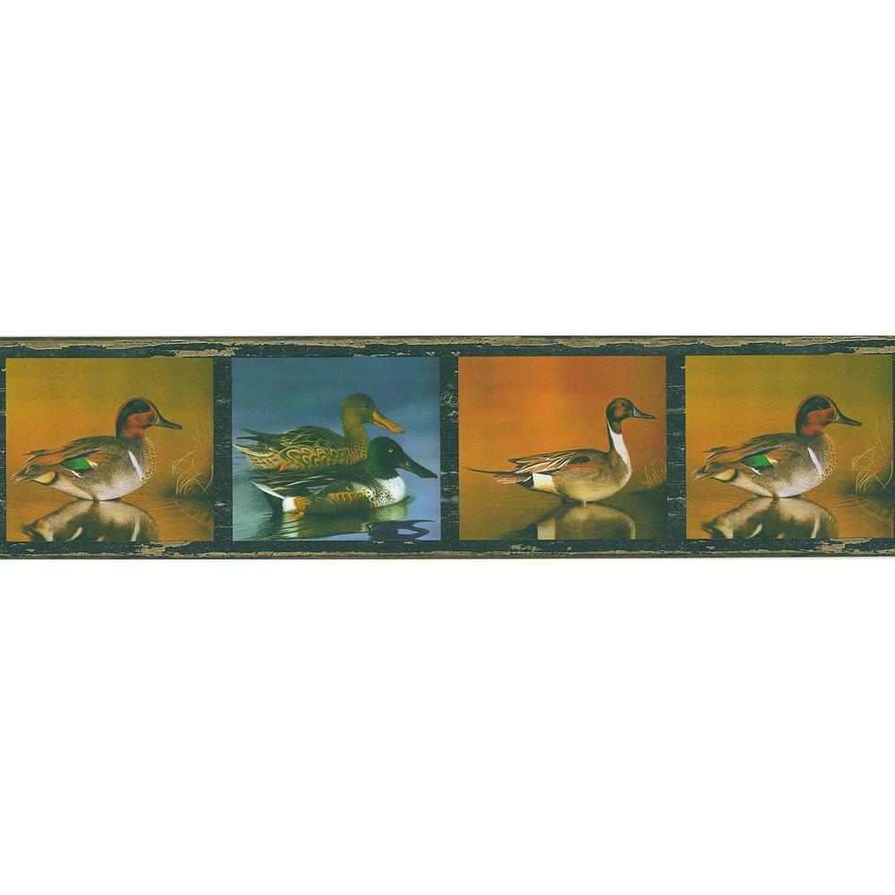 Brewster Multi Color Duck Pond Wallpaper Border Sample