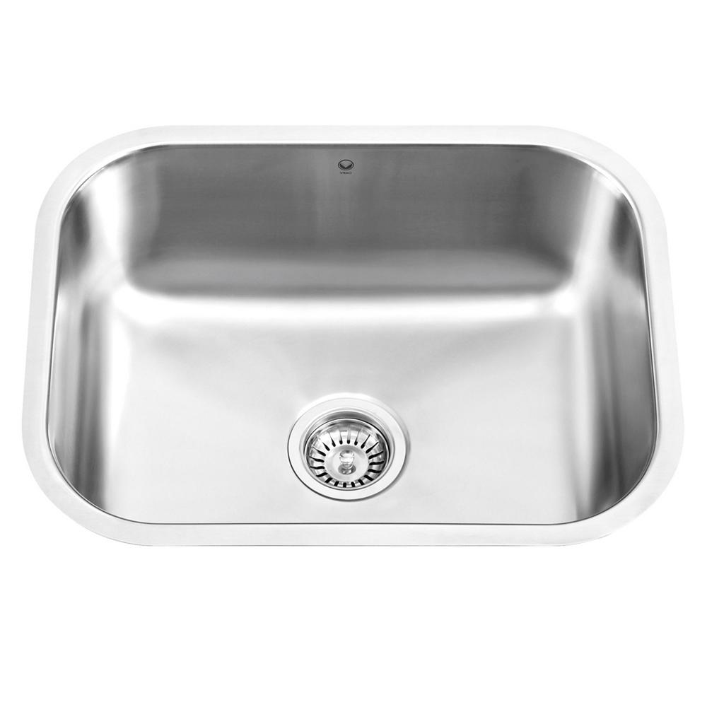VIGO Undermount Stainless Steel 23 in. Single Bowl Kitchen Sink ...