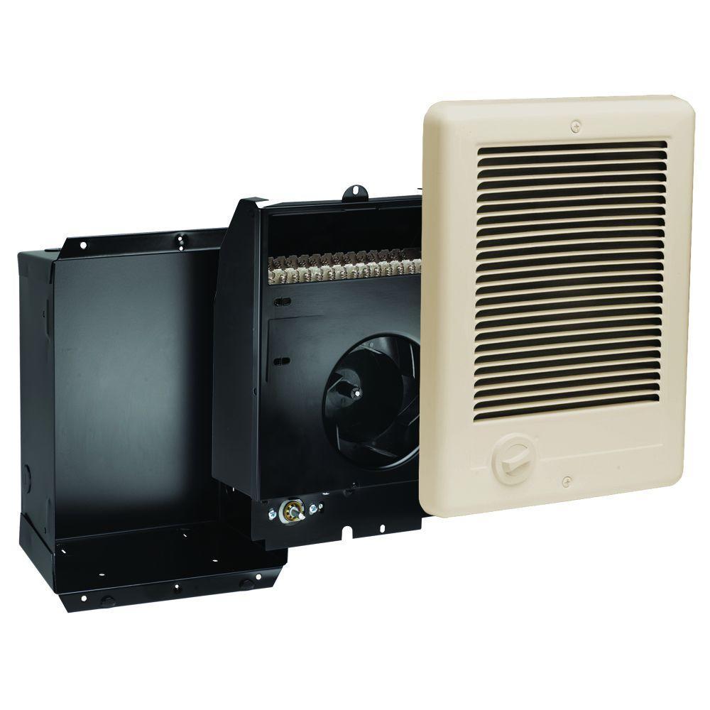 Com-Pak 1,000-Watt 240-Volt Fan-Forced In-Wall Electric Heater in Almond