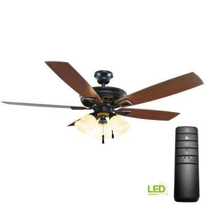 Gazelle 52 in. LED Indoor/Outdoor Natural Iron Outdoor Ceiling Fan with Light Kit and Remote Control
