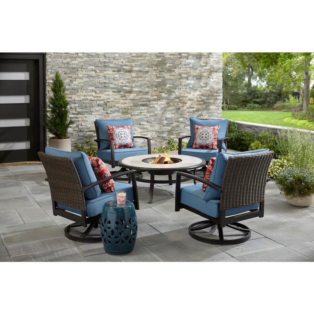 5-Piece Hampton Bay Dark Brown Metal Round Fire Seating Set with Cushions (Blue)