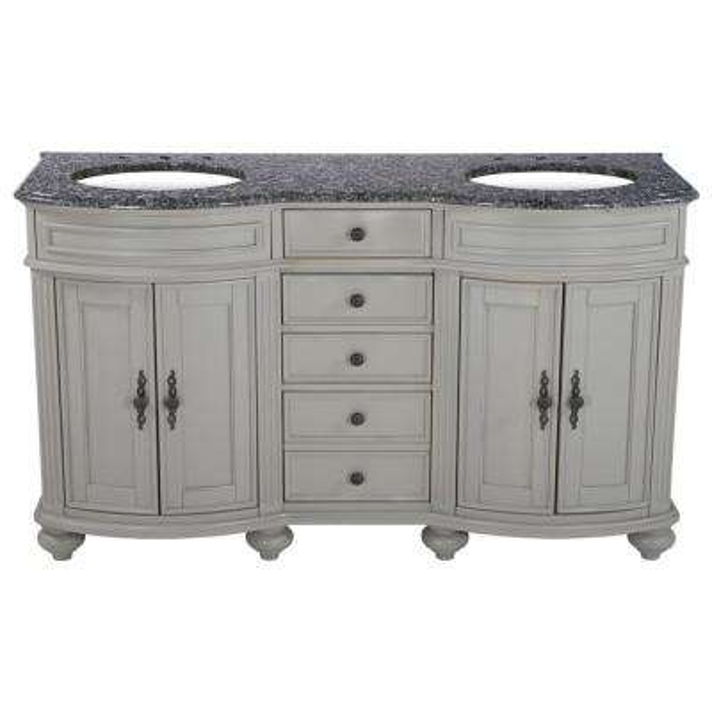60 in. W x 23 in. D Solid Hardwood Double Vanity in Dove Gray with Solid Granite Top in Leopard