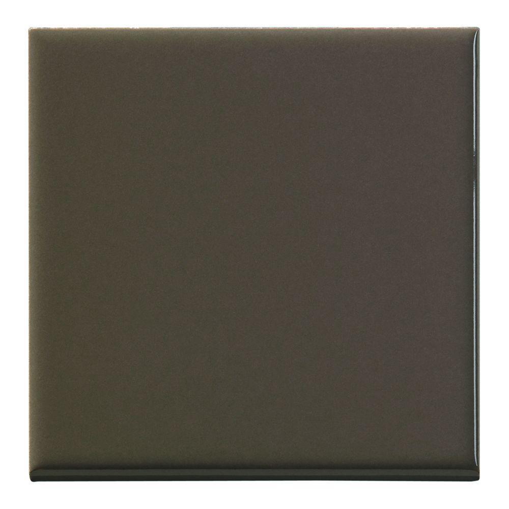 U.S. Ceramic Tile Color Collection 4-1/4 in. x 4-1/4 in. Bright Cocoa Ceramic Bullnose Trim Tile-DISCONTINUED