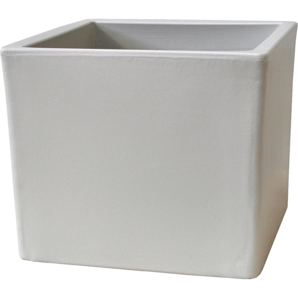 Toscana 15 In. White Plastic Cube Patio Planter