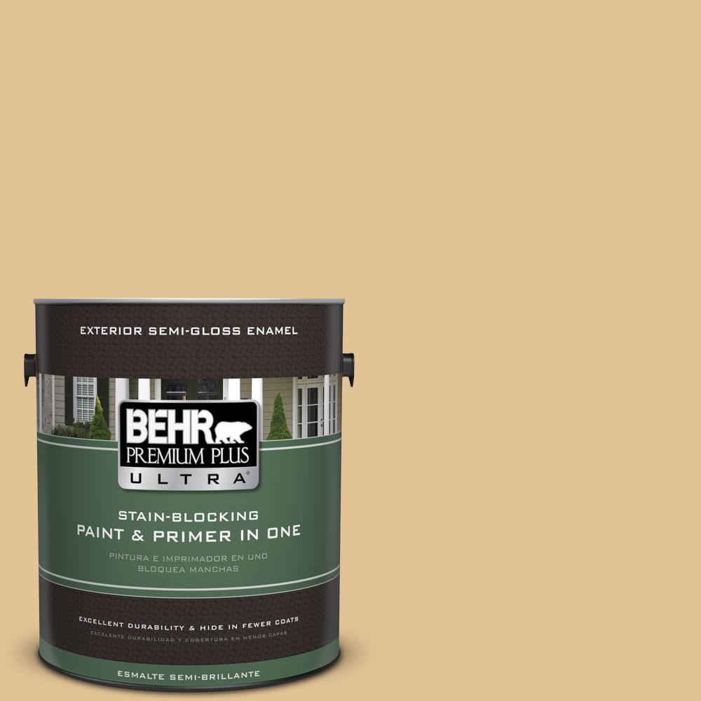 BEHR Premium Plus Ultra 1-gal. #310E-3 Ripe Wheat Semi-Gloss Enamel Exterior Paint
