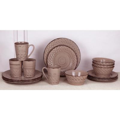16-Piece Casual Mocca Stoneware Dinnerware Set (Service for 4)