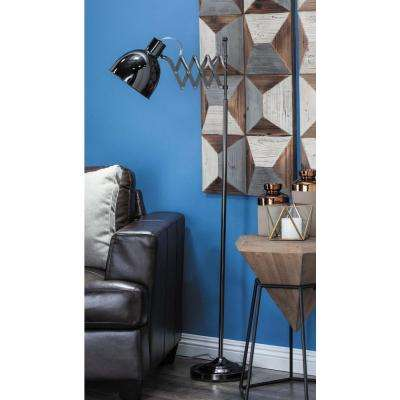 19 in. x 55 in. Modern Metallic Black Accordion Bell-Shaped Floor Task Lamp
