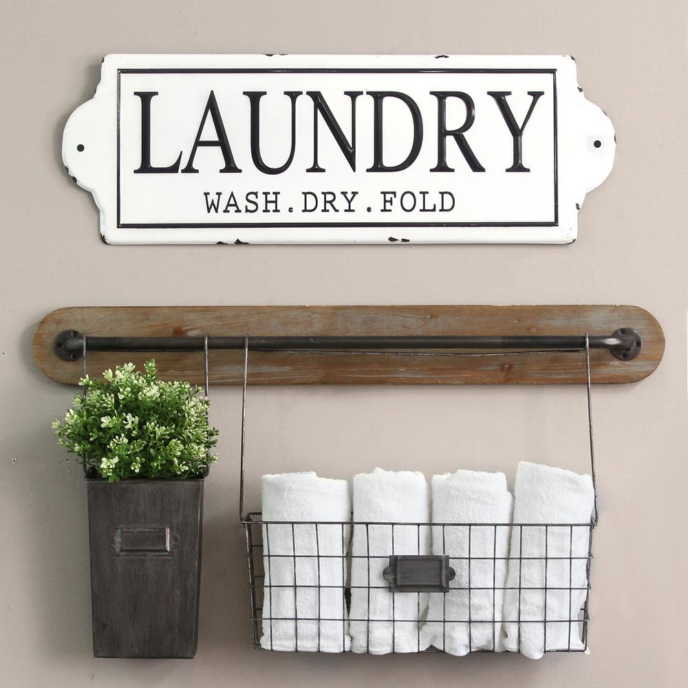 Stratton Home Decor Metal Laundry Wall Decor S15047 The Home Depot