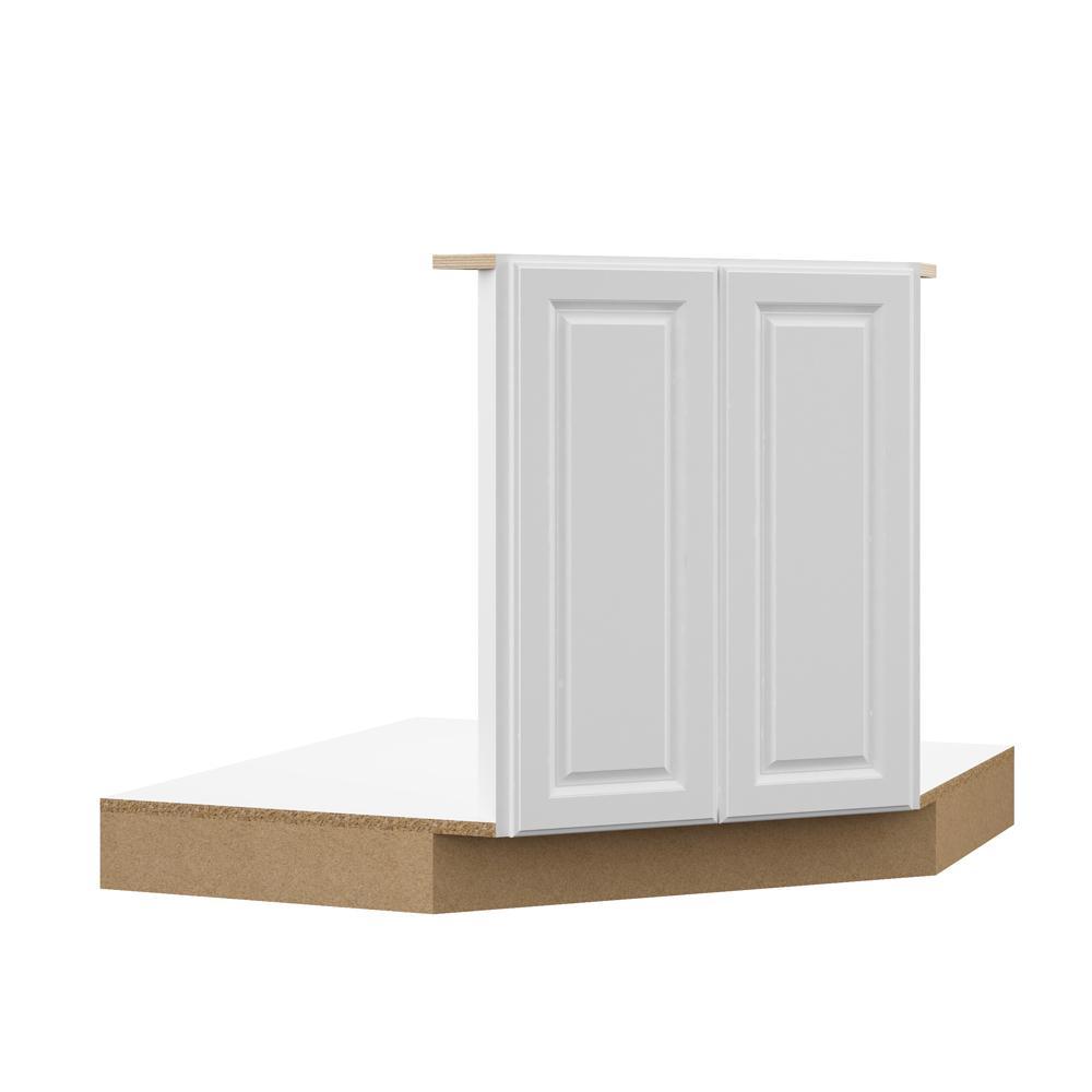Hampton Bay Designer Series Elgin Assembled 42x34.5x23.75 in. Corner Sink  Base Kitchen Cabinet in White