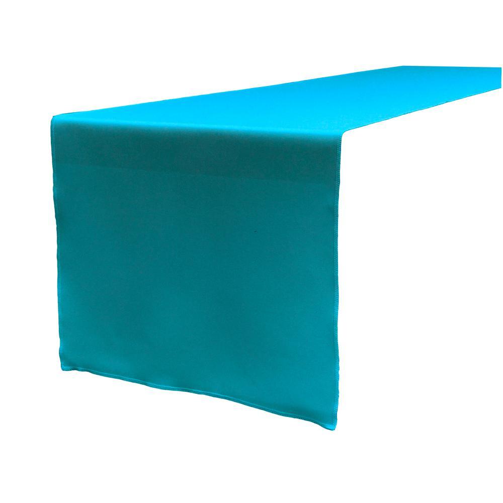 14 in. x 108 in. Dark Turquoise Polyester Poplin Table Runner