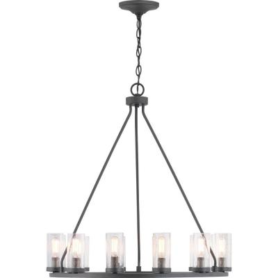 Hartwell 12-Light Graphite Chandelier with Antique Nickel Accents