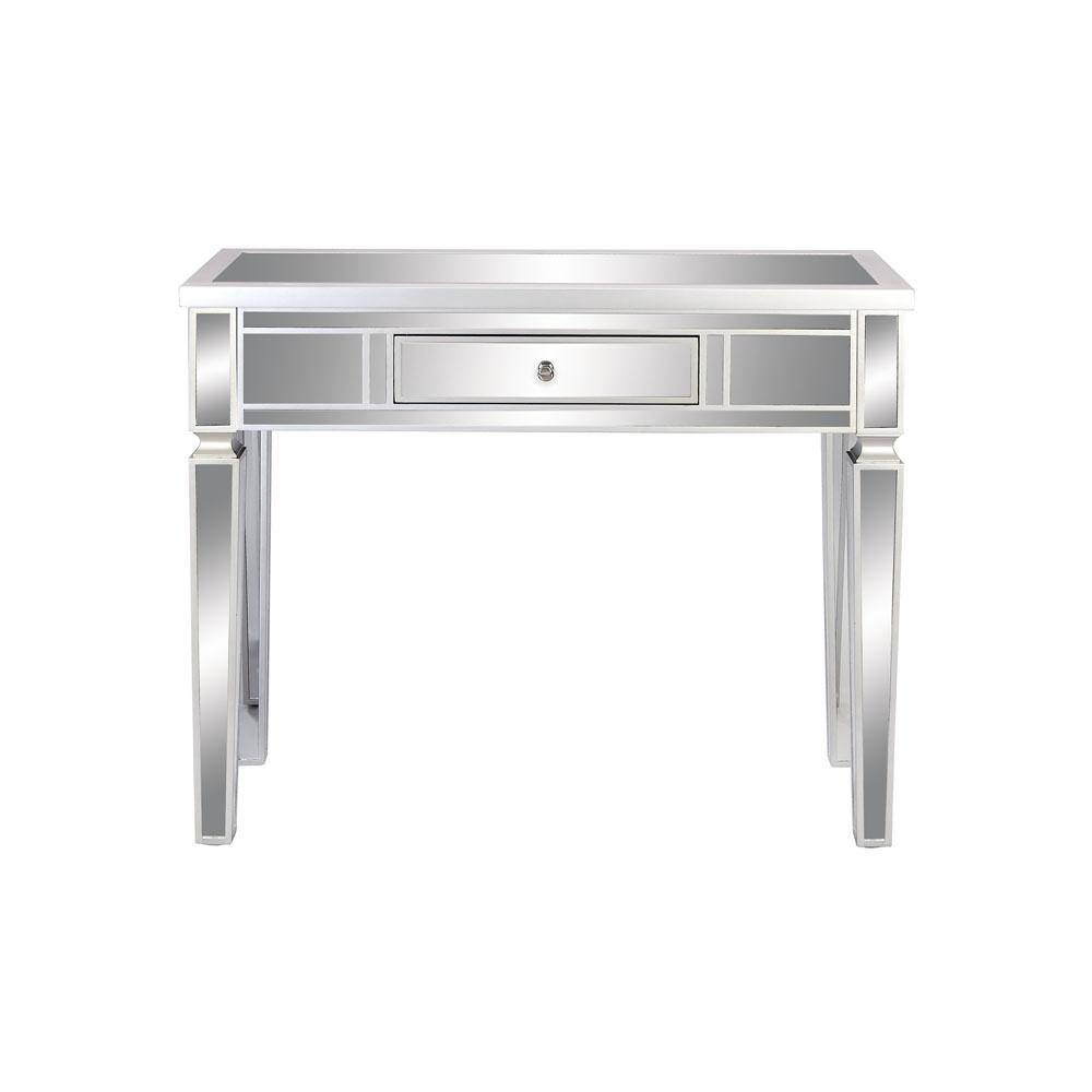 Art Decor Reflective Silver 1-Drawer Console Table