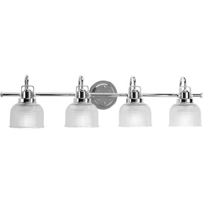 Archie Collection 35.5 in. 4-Light Chrome Bathroom Vanity Light with Glass Shades