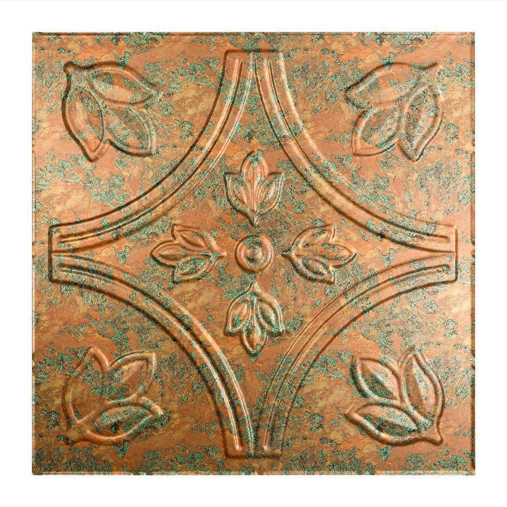 Fasade Traditional 5 2 Ft X 2 Ft Copper Fantasy Lay In Vinyl Ceiling Tile 20 Sq Ft Pl7011 The Home Depot